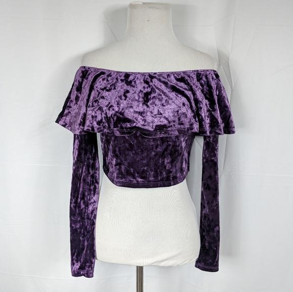 2d2c2357d77a5 Charlotte Russe Off The Shoulder Velvet Crop Top
